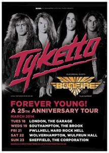 Tyketto an d Bonfire U:K: Tour 2014